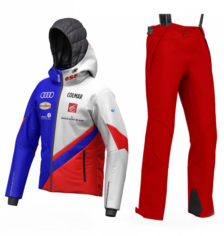 MEN ALPINE FRENCH NATIONAL SKI TEAM(2WAY)CYBER BLUE-BRIGHT RED-WHITE + PANTALONI ADVANCED FIT SALOPETTE(4WAY) BRIGHT RED.jpg